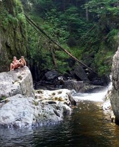Swimming at Garfield Falls, Pittsburg, NH